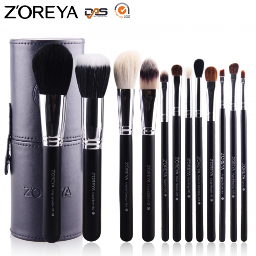 Zoreya 12 pieces makeup brush set multi-color barrel makeup brushes