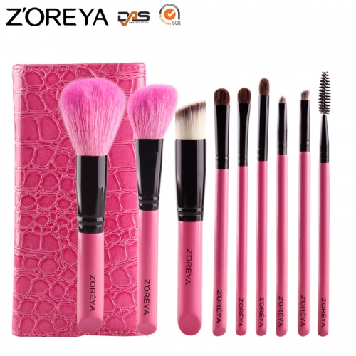 Zoreya 9 pieces makeup brush set with  leather bag, powder,blush,eye shadow,lip brushes